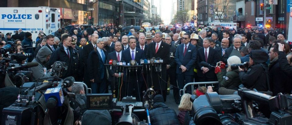 NY Governor Andrew Cuomo and NYC Mayor Bill de Blasio speak at a press conference as police respond to a reported explosion at the Port Authority Bus Terminal on December 11, 2017 in New York. (Photo: BRYAN R. SMITH/AFP/Getty Images)