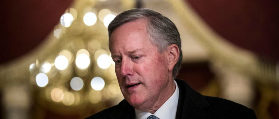 House Freedom Caucus chairman Rep. Mark Meadows (R-NC) speaks to reporters on Capitol Hill, December 4, 2017 in Washington, D.C. (Drew Angerer/Getty Images)