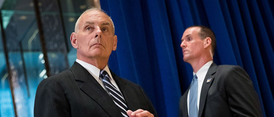 White House Chief of Staff Gen. John Kelly looks on as President Donald Trump speaks following a meeting on infrastructure at Trump Tower, August 15, 2017 in New York City. He fielded questions from reporters about his comments on the events in Charlottesville, Virginia and white supremacists. (Photo by Drew Angerer/Getty Images)