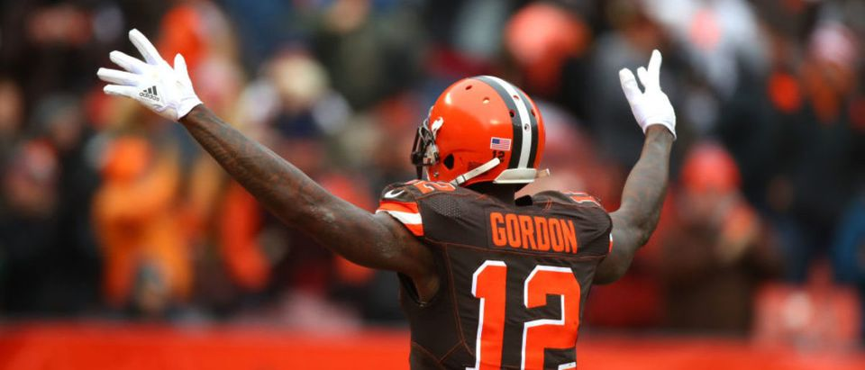 Josh Gordon #12 of the Cleveland Browns celebrates a touchdown in the first quarter against the Green Bay Packers at FirstEnergy Stadium on December 10, 2017 in Cleveland, Ohio. (Photo by Gregory Shamus/Getty Images)
