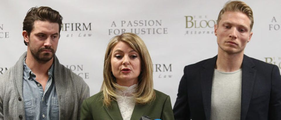 Attorney Lisa Bloom speaks during a press conference with her clients, models Jason Boyce and another man, who are accusing photographer Bruce Weber of sexual misconduct. (Photo: Frederick M. Brown/Getty Images)