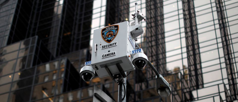 New York City Police Department (NYPD) security cameras are seen outside Trump Tower on 5th Avenue in New York City