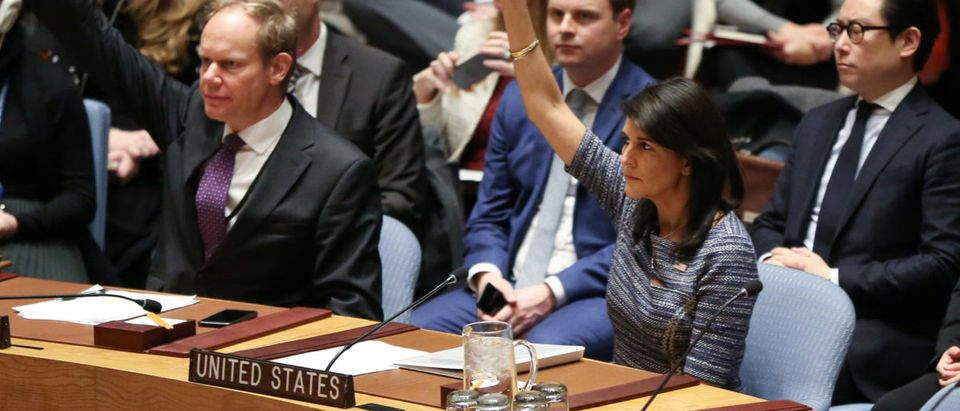 U.S. Ambassador to the United Nations Nikki Haley votes among other members of the United Nations Security Council to impose new sanctions on North Korea, in New York
