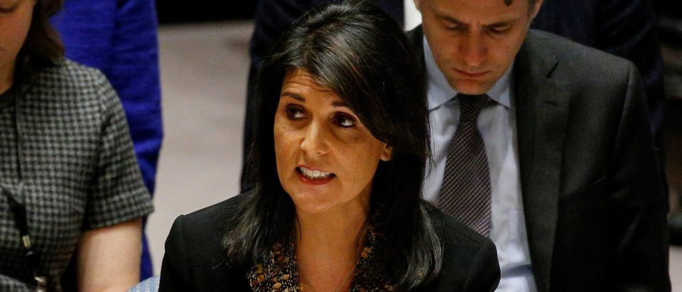 U.S. Ambassador to the United Nations Nikki Haley speaks during the United Nations Security Council meeting on the situation in the Middle East, including Palestine, at U.N. Headquarters in New York