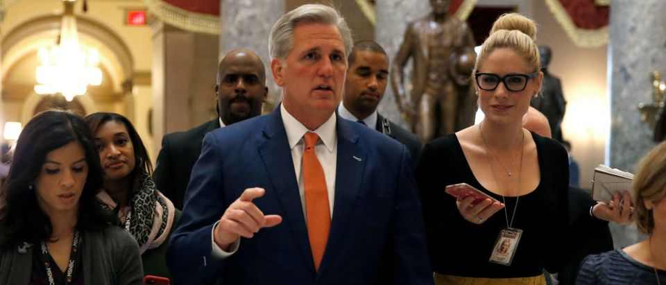 House Majority Leader Kevin McCarthy (R-CA) speaks to reporters after a vote in the House of Representatives on Capitol Hill in Washington