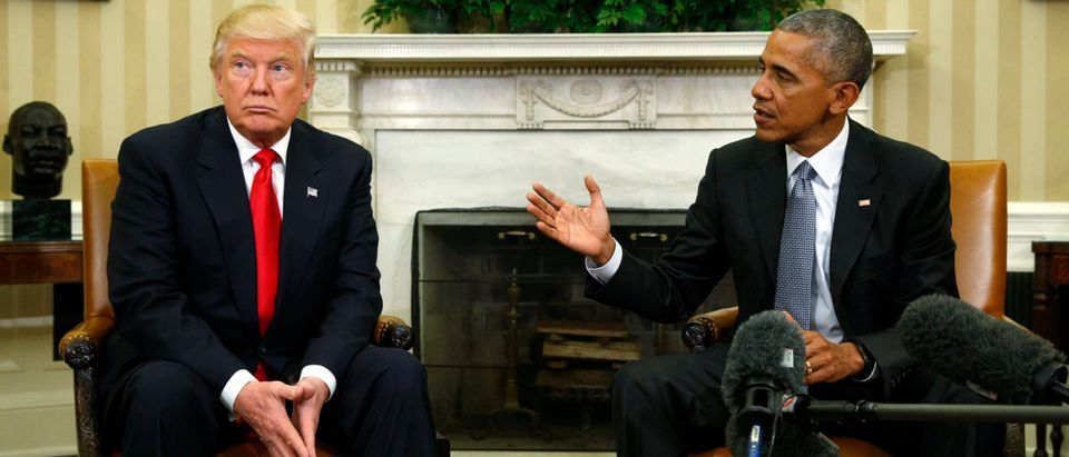 U.S. President Obama meets with President-elect Trump in the White House Oval Office in Washington
