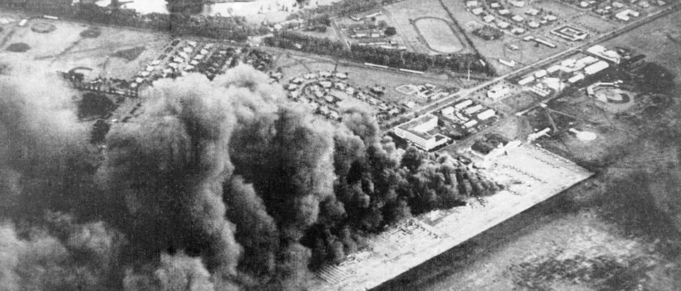 Wheeler Army Airfield is seen under attack by the Imperial Japanese Navy in Pearl Harbor. (Photo credit: Kyodo/via REUTERS)