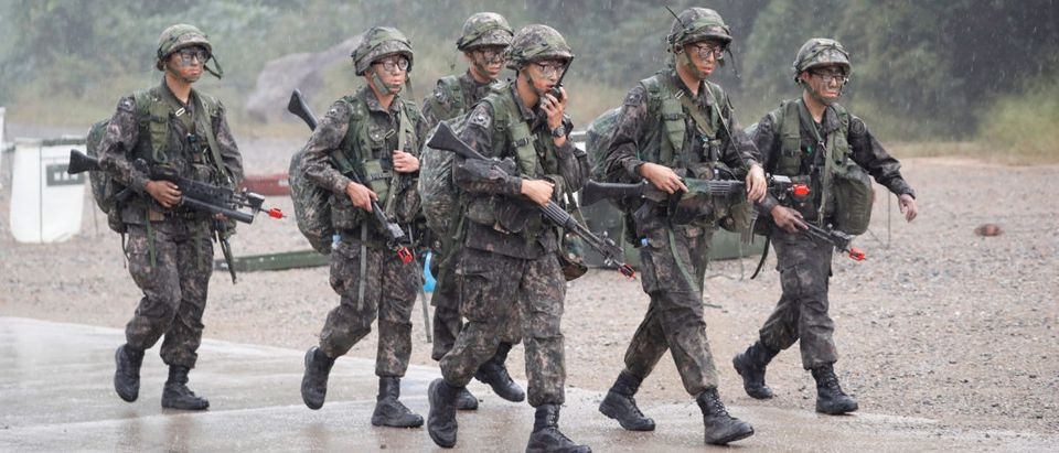 South Korean soldiers take part in a combined arms collective training exercise in Pocheon