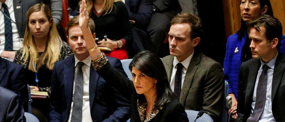 U.S. Ambassador to the United Nations Nikki Haley vetos an Egyptian-drafted resolution regarding recent decisions concerning the status of Jerusalem, during the United Nations Security Council meeting on the situation in the Middle East, including Palestine, at U.N. Headquarters in New York City, New York, U.S., December 18, 2017. REUTERS/Brendan McDermid