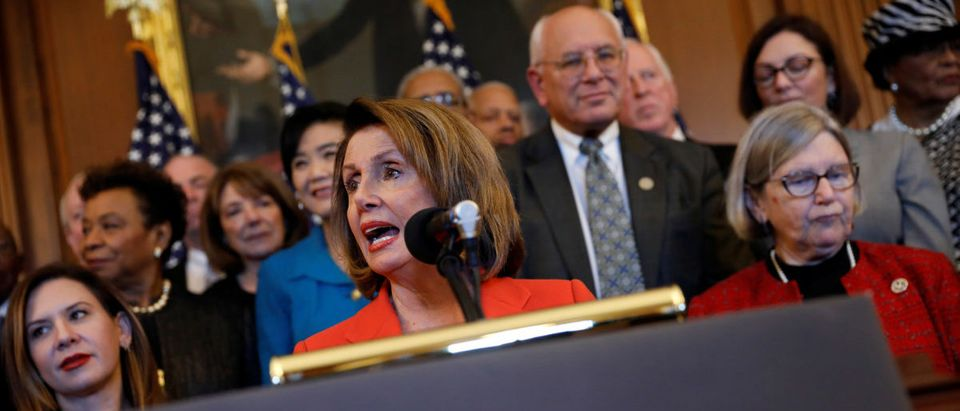 House Minority Leader Nancy Pelosi speaks at a news conference about the Republican led tax reform bill at the U.S. Capitol in Washington