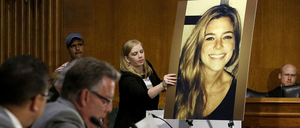 FILE PHOTO: A photo of murder victim Kate Steinle is placed on an easel on Capitol Hill in Washington