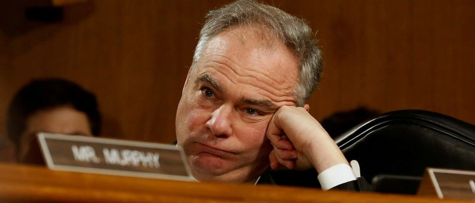 U.S. Senator Tim Kaine (D-VA) listens to testimony by Rex Tillerson, the former chairman and chief executive officer of Exxon Mobil, before a Senate Foreign Relations Committee confirmation hearing on his nomination to be U.S. secretary of state in Washington, U.S. January 11, 2017. REUTERS/Jonathan Ernst TPX IMAGES OF THE DAY - RC1B9D9F22F0
