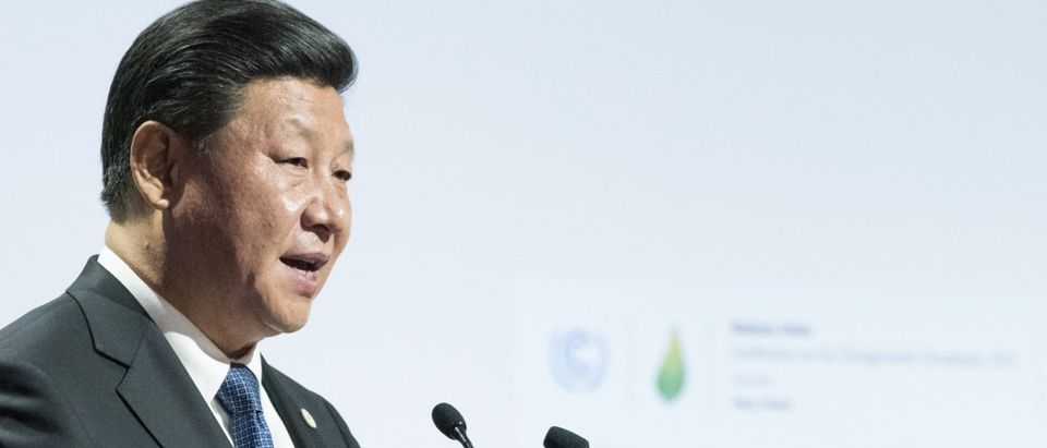 LE BOURGET near PARIS, FRANCE - NOVEMBER 30, 2015 : Xi Jinping, President of the People's Republic of China delivering his speech at the Paris COP21, United nations conference on climate change.