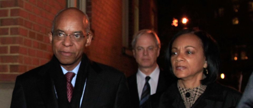 ALEXANDRIA, VA - NOVEMBER 13: Former Congressman William Jefferson (D-LA) leaves the US District Court with his wife Andrea Jefferson after being sentenced to 13 years in prison on November 13, 2009 in Alexandria, Virginia. Jefferson was found guilty of 11 charges including solicitation of bribes, honest services wire fraud, money laundering, racketeering and conspiracy. (Photo by Mark Wilson/Getty Images)