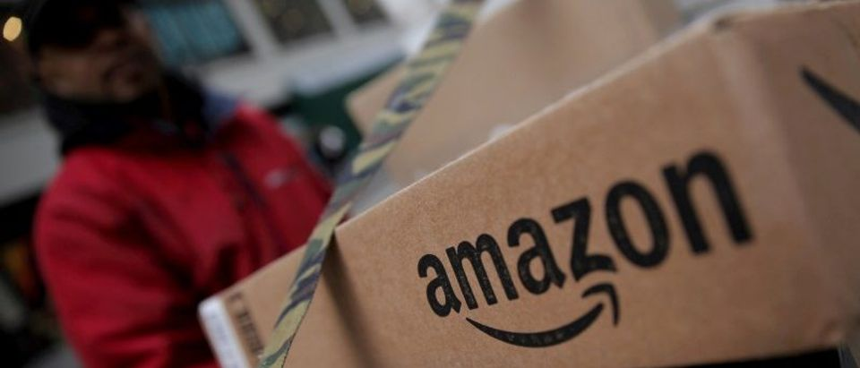FILE PHOTO: Amazon boxes are seen stacked for delivery in Manhattan