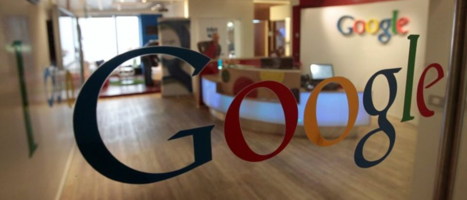 FILE PHOTO: The Google logo is seen on a door at the company's office in Tel Aviv