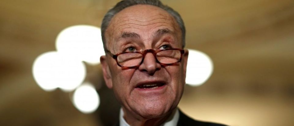 Senate Minority Leader Schumer speaks after the Democratic policy luncheon on Capitol Hill in Washington
