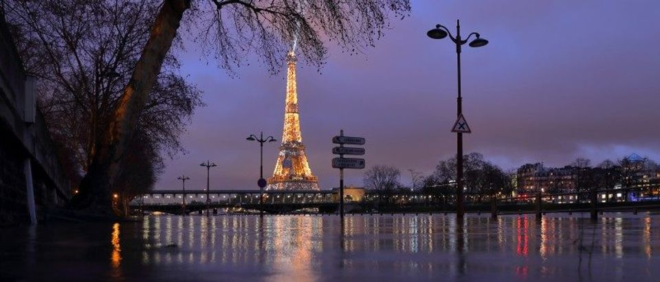 A view shows the flooded banks of the Seine River and the Eiffel Tower after days of rainy weather in Paris