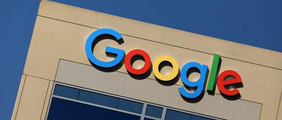 FILE PHOTO: Google logo on office building in Irvine, California
