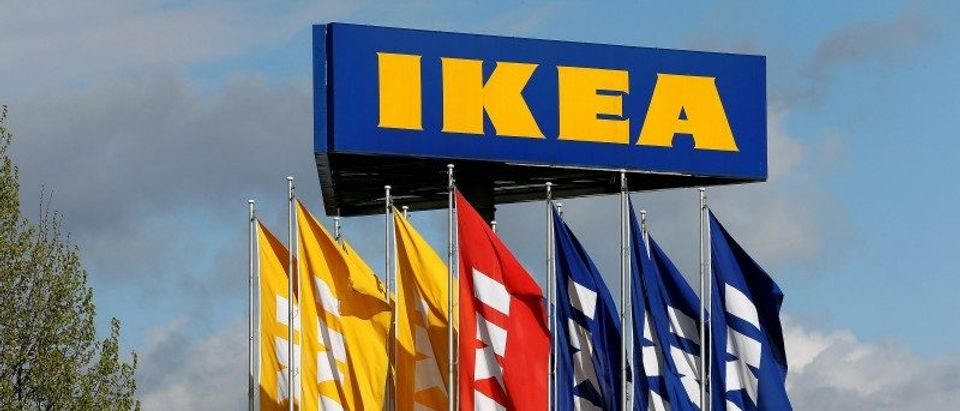 FILE PHOTO: Flags and the company's logo are seen outside of an IKEA Group store in Spreitenbach