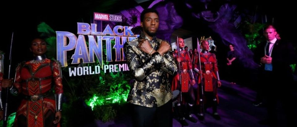 "Cast member Boseman poses at the premiere of ""Black Panther"" in Los Angeles"