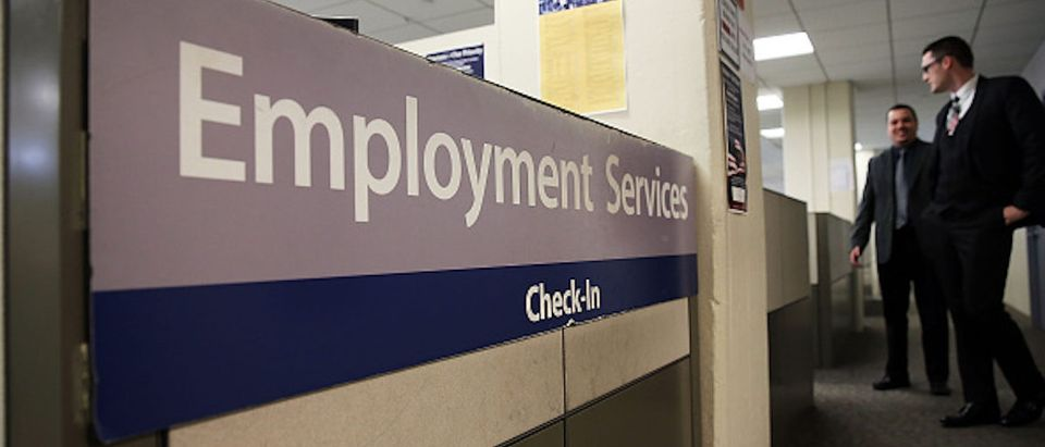 NEW YORK, NY - MARCH 06: A New York Labor Department office is viewed in Manhattan on March 6, 2015 in New York City. Beating expectations, the Labor Department reported on Friday that employers added 295,000 workers in February. The robust numbers brought the unemployment rate down to 5.5 percent, its lowest since mid-2008. (Photo by Spencer Platt/Getty Images)