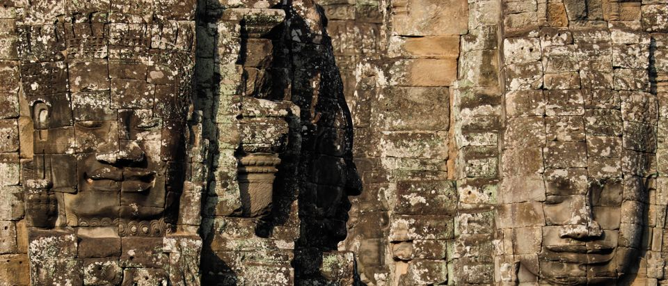 Stone faces are seen at Bayon temple at Angkor Thom in Siem Reap province