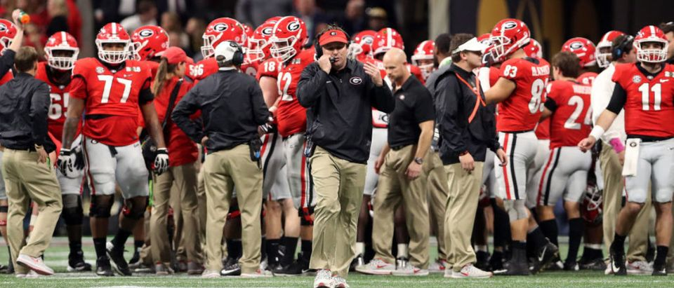 ATLANTA, GA - JANUARY 08: Head coach Kirby Smart of the Georgia Bulldogs reacts to a play during the first quarter against the Alabama Crimson Tide in the CFP National Championship presented by AT&T at Mercedes-Benz Stadium on January 8, 2018 in Atlanta, Georgia. (Photo by Christian Petersen/Getty Images)