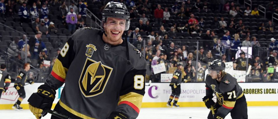 Nate Schmidt #88 of the Vegas Golden Knights smiles as he warms up before a game against the Toronto Maple Leafs at T-Mobile Arena on December 31, 2017 in Las Vegas. The Golden Knights won 6-3. (Photo by Ethan Miller/Getty Images)