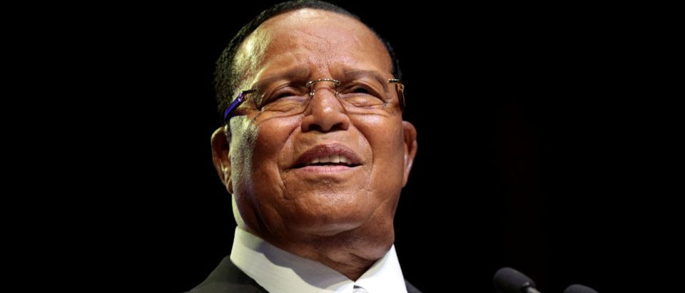 Religious leader Louis Farrakhan gives the keynote speech at the Nation of Islam Saviours' Day national convention in Detroit, Michigan,