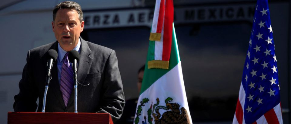 FILE PHOTO: U.S. Deputy Chief of Mission John Feeley in Mexico speaks during a ceremony at a hangar of Secretariat of National Defense in Mexico City