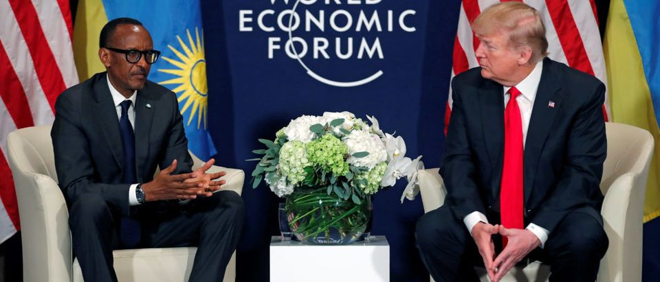 U.S. President Trump meets President Kagame of Rwanda during the World Economic Forum annual meeting in Davos