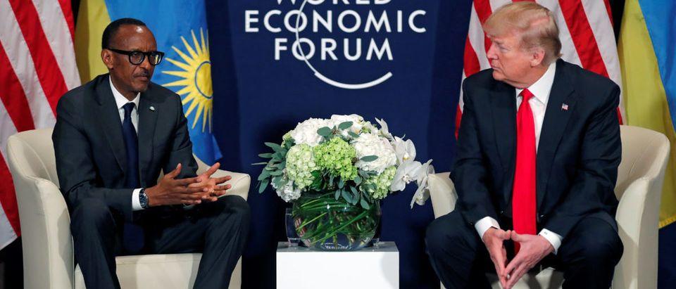 U.S. President Trump meets President Kagame of Rwanda during the World Economic Forum annual meeting in Davos
