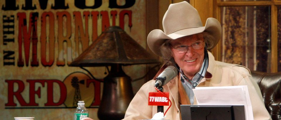 Radio personality Don Imus talks on air during his return to radio in New York