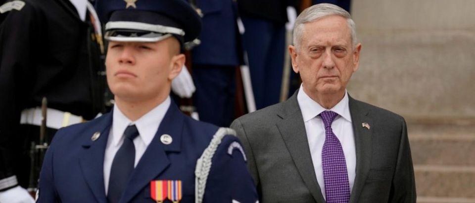 Defense Secretary Jim Mattis welcomes British State Secretary for Defense Gavin Williamson to the Pentagon