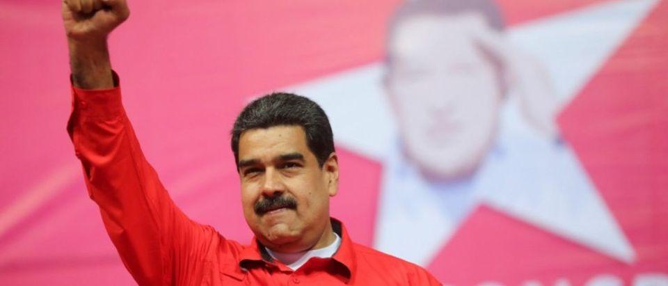 Venezuela's President Nicolas Maduro gestures during a congress plenary of the Venezuela's United Socialist Party (PSUV) in Caracas, Venezuela Feb. 2, 2018. Miraflores Palace/Handout via REUTERS