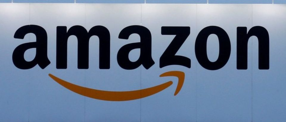 FILE PHOTO:FILE PHOTO - The logo of Amazon is seen at the company logistics center in Lauwin-Planque northern France