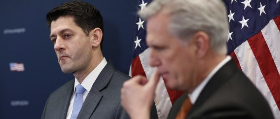 U.S. House Speaker Ryan and House Majority Leader McCarthy listen during news conference on Capitol Hill in Washington