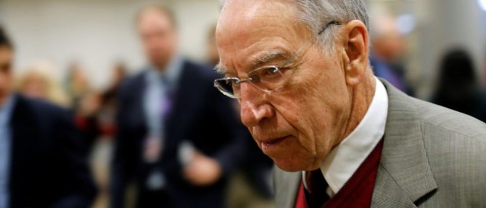 FILE PHOTO: U.S. Senator Charles Grassley (R-IA) arrives for the weekly Republican party caucus luncheon at the U.S. Capitol in Washington, U.S., January 17, 2018. REUTERS/Jonathan Ernst