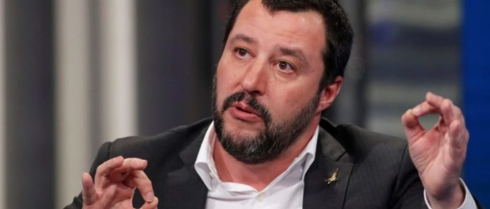 """Northern League leader Salvini gestures during the television talk show """"Porta a Porta"""" in Rome"""