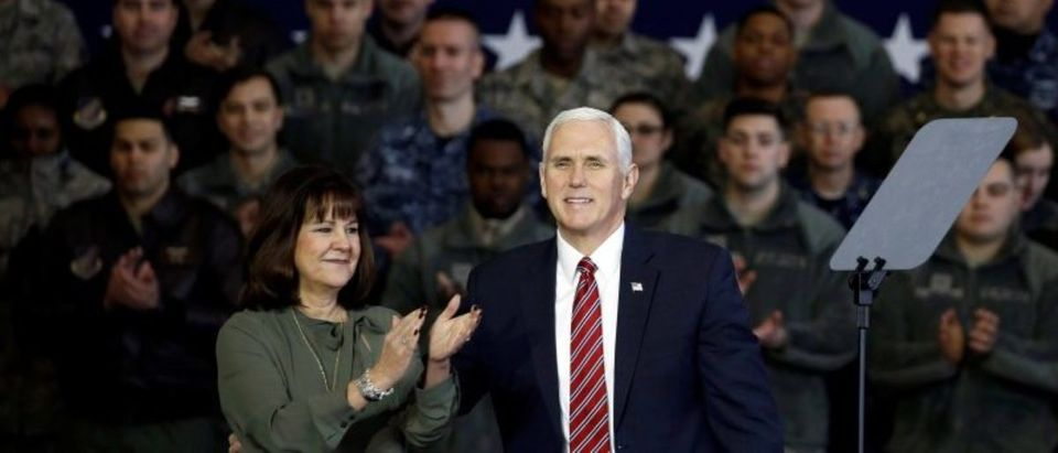 U.S. Vice President Mike Pence arrives with his wife Karen to address members of U.S. military services and JSDF before he departs for South Korea, at U.S. Air Force Yokota base in Fussa, on the outskirts of Tokyo