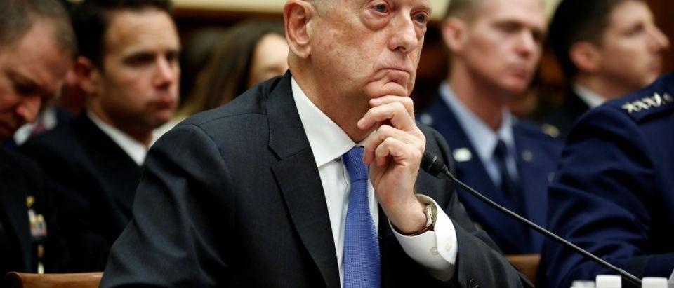U.S. Defense Secretary Jim Mattis testifies to the House Armed Services Committee in Washington