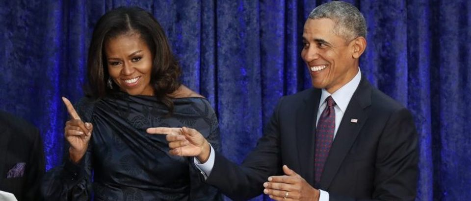 Former U.S. President Barack Obama and former first lady Michelle Obama attend their portrait unveiling ceremony in Washington