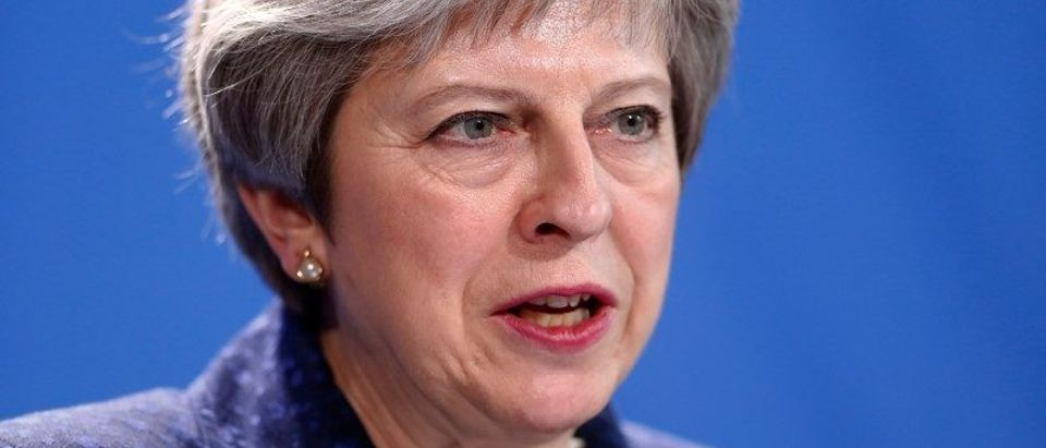 Prime Minister May address a news conference after talks in Berlin