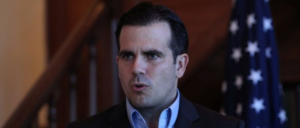 FILE PHOTO - Puerto Rico Governor Ricardo Rossello speaks during a Facebook live broadcast in the library of the governor's mansion, in San Juan, Puerto Rico January 24, 2018. REUTERS/Alvin Baez