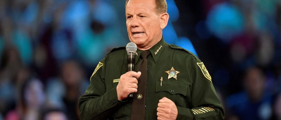 Broward County Sheriff Scott Israel speaks before the start of a CNN town hall meeting at the BB&T Center, in Sunrise