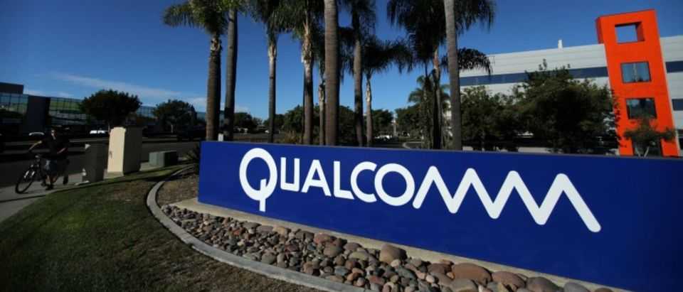 A sign on the Qualcomm campus is seen in San Diego, California, U.S. Nov. 6, 2017. REUTERS/Mike Blake/File Photo