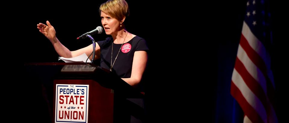 """Actress Cynthia Nixon speaks during the """"People's State of the Union"""" event in Manhattan"""