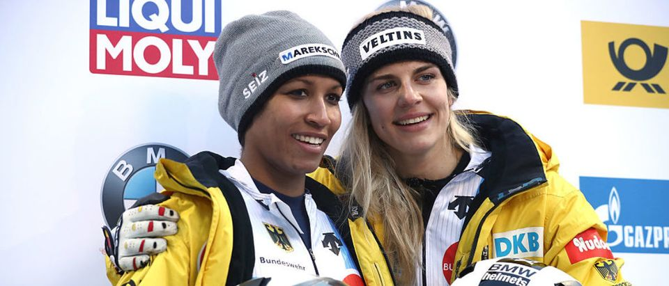 KOENIGSSEE, GERMANY - JANUARY 27: Mariama Jamanka (L) and Annika Drazek of Germany celebrate after the second run of the Women's Bobsleight first run of the BMW IBSF World Cup at Deutsche Post Eisarena Koenigssee on January 27, 2017 in Koenigssee, Germany. (Photo by Alexander Hassenstein/Getty Images For IBSF)