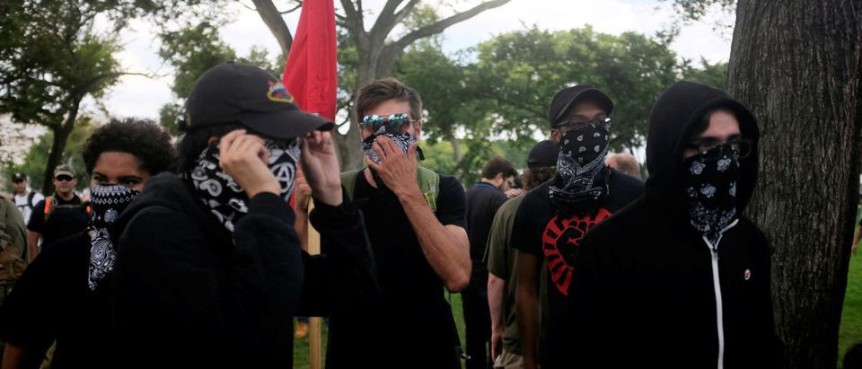 Members of Antifa gather at the fringes of the Mother of All Rallies on the National Mall in Washington, U.S., September 16, 2017. REUTERS/James Lawler Duggan